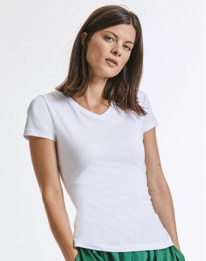 Ladies` Pure Organic V-Neck Tee